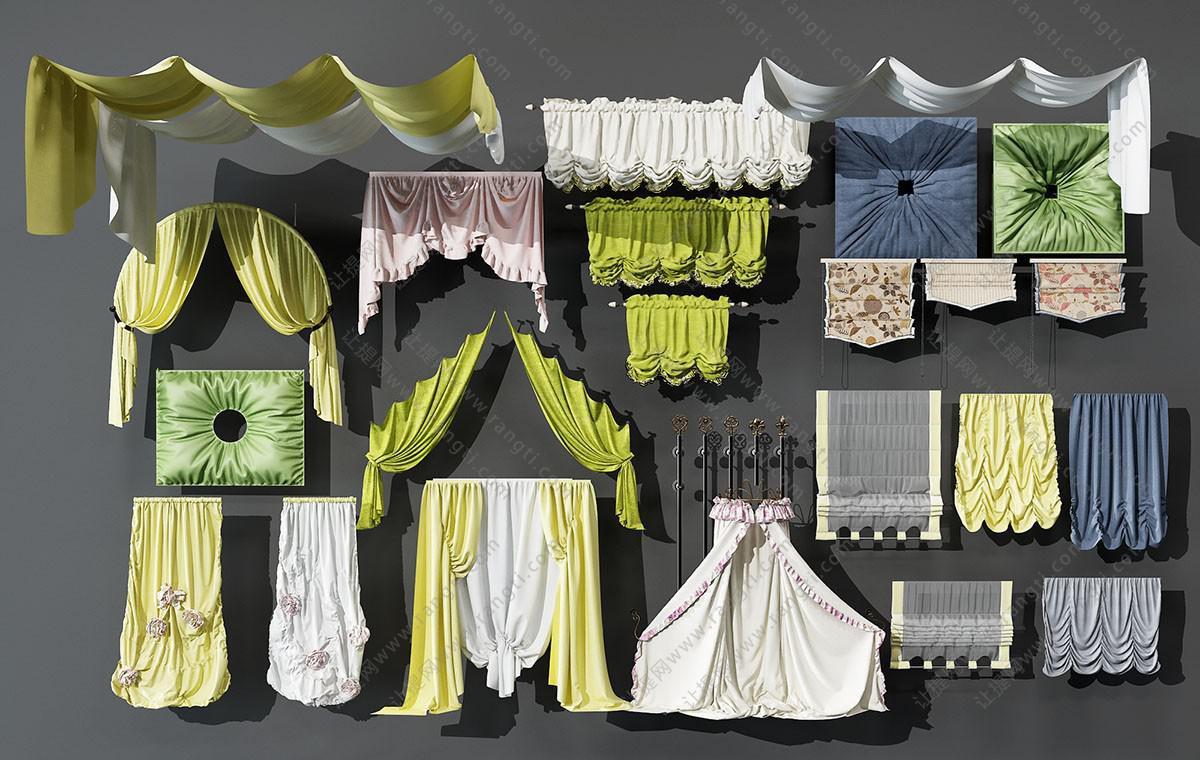 现代窗帘、窗幔、床帏、拉帘3D模型