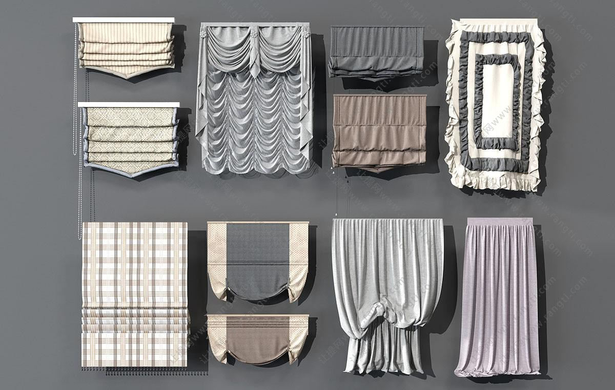 欧式罗马帘、拉帘、褶皱窗帘、卫生间窗帘3D模型