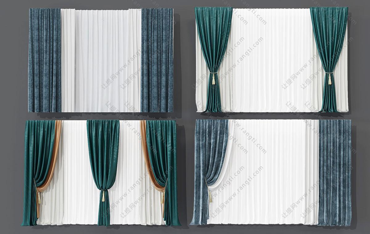 欧式窗帘、纱帘、垂帘3D模型