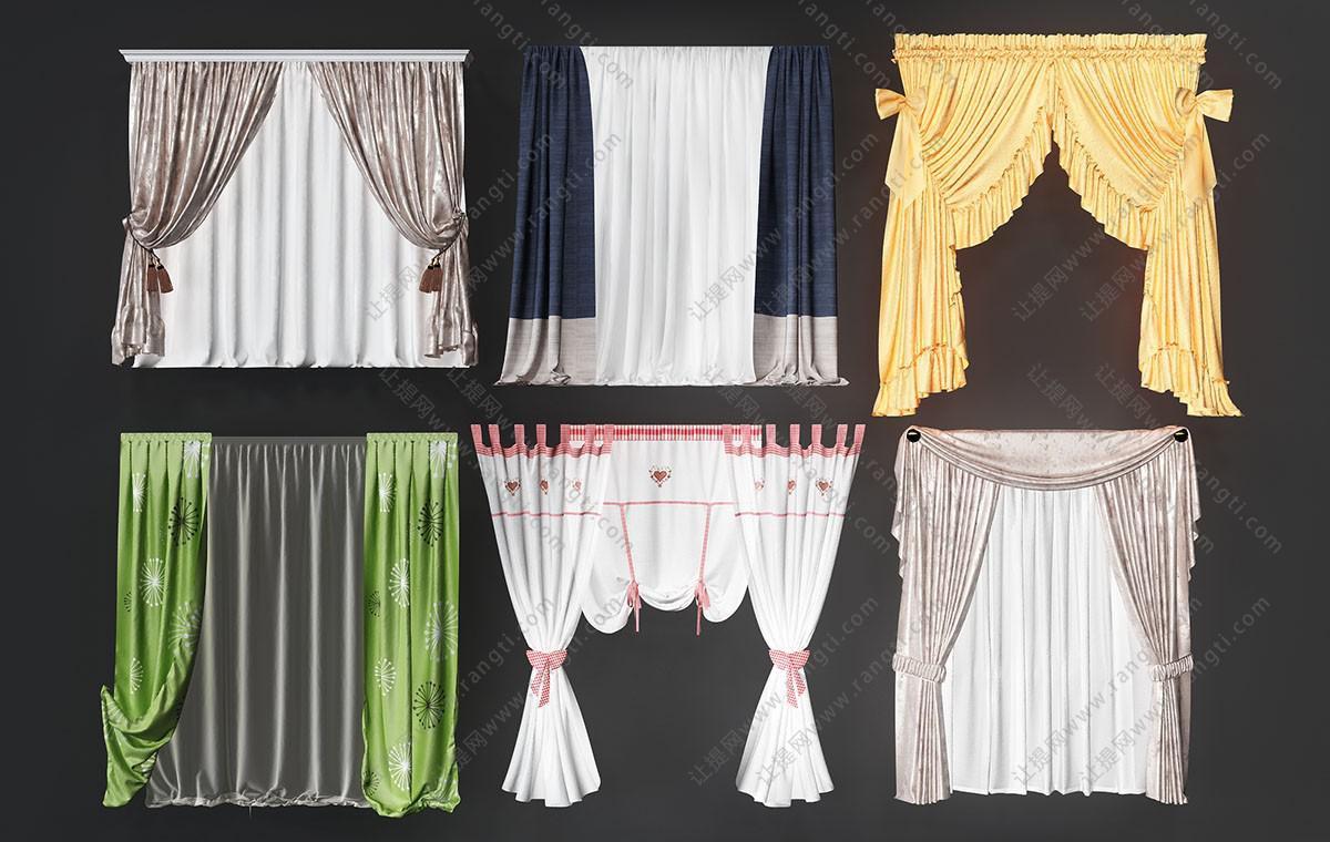 欧式窗帘、花边窗帘3D模型