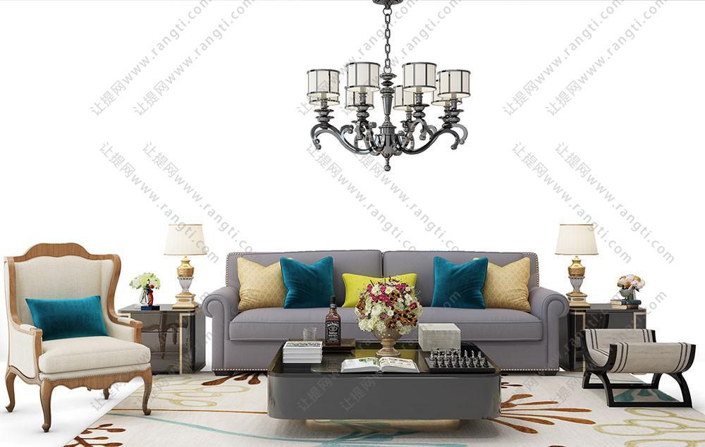 简欧沙发、茶几和吊灯组合3D模型