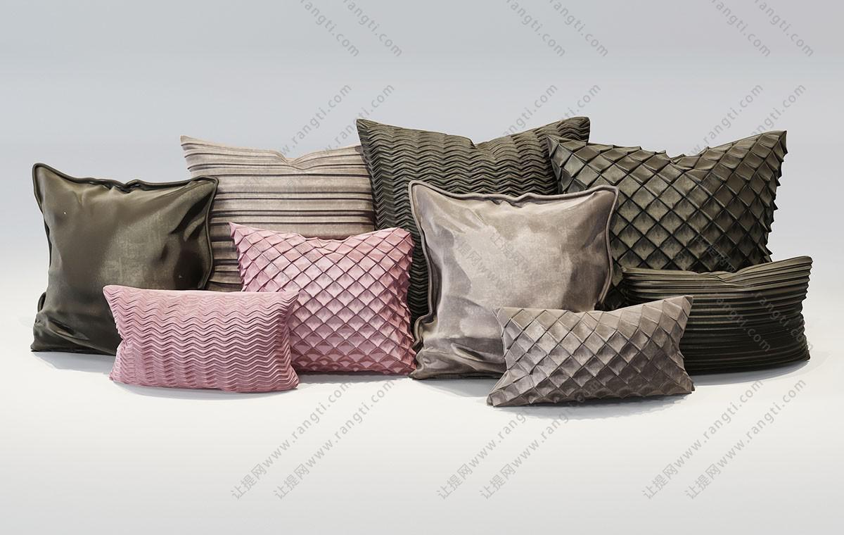 欧式抱枕、女性抱枕3D模型