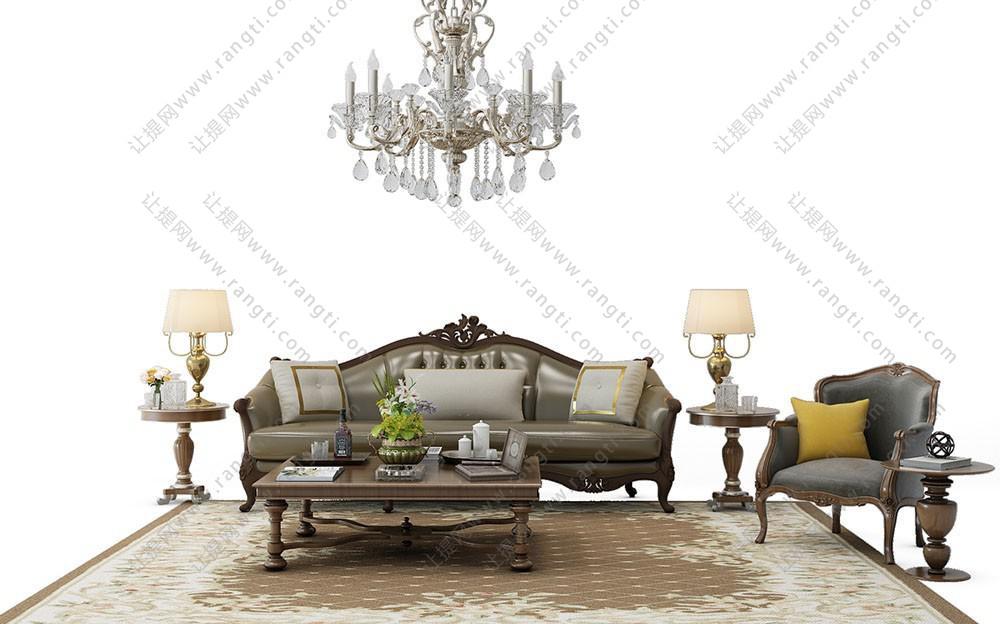 欧式沙发、茶几和休闲椅组合3D模型