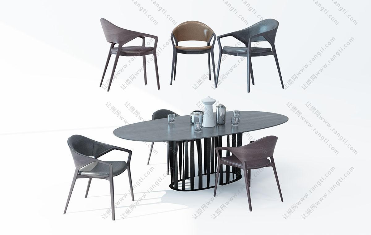 现代椭圆形餐桌椅六人座3D模型