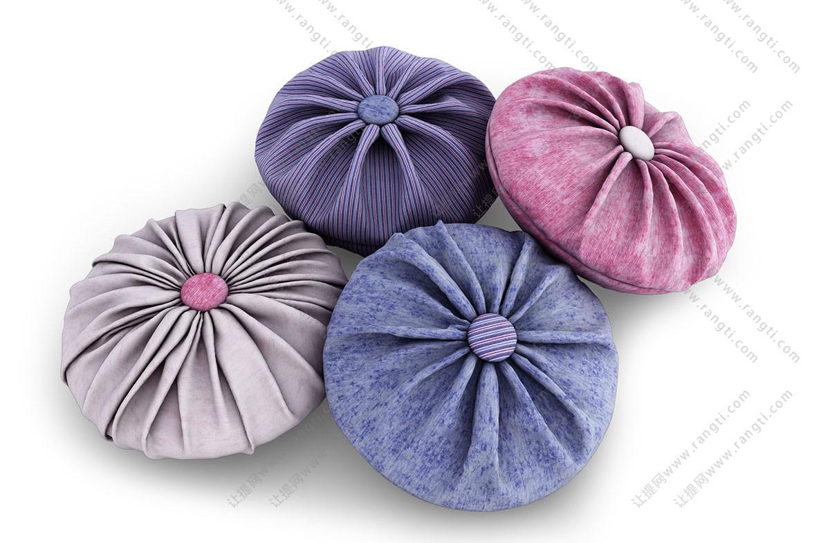 素色圆形纽扣抱枕3D模型