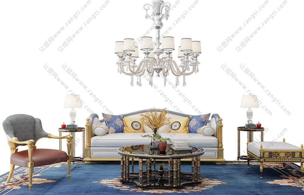 欧式沙发、茶几、休闲椅和靠垫组合3D模型