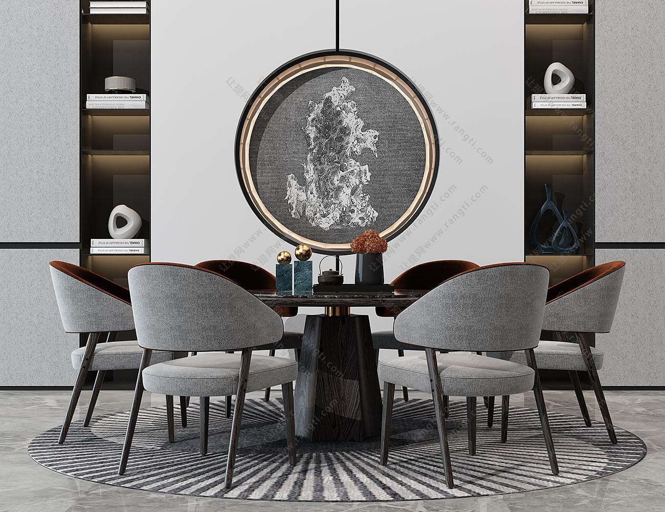 新中式实木布艺圆形餐桌椅组合3D模型