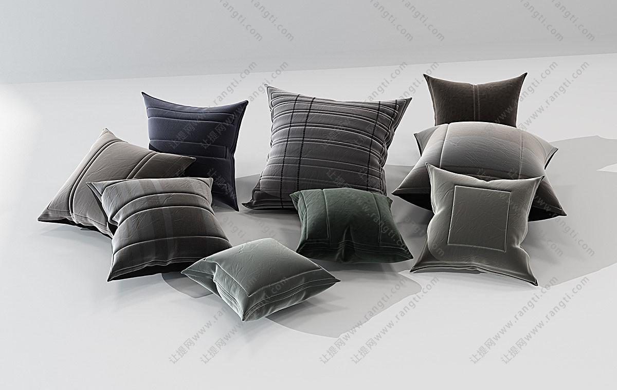现代条纹、方形凹痕抱枕3D模型