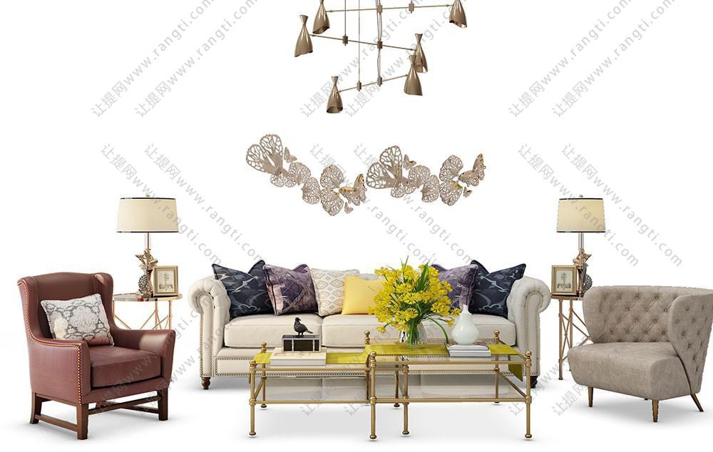 欧式沙发、茶几、吊灯和墙饰组合3D模型