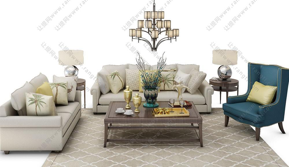 欧式沙发、茶几、吊灯和休闲椅组合3D模型