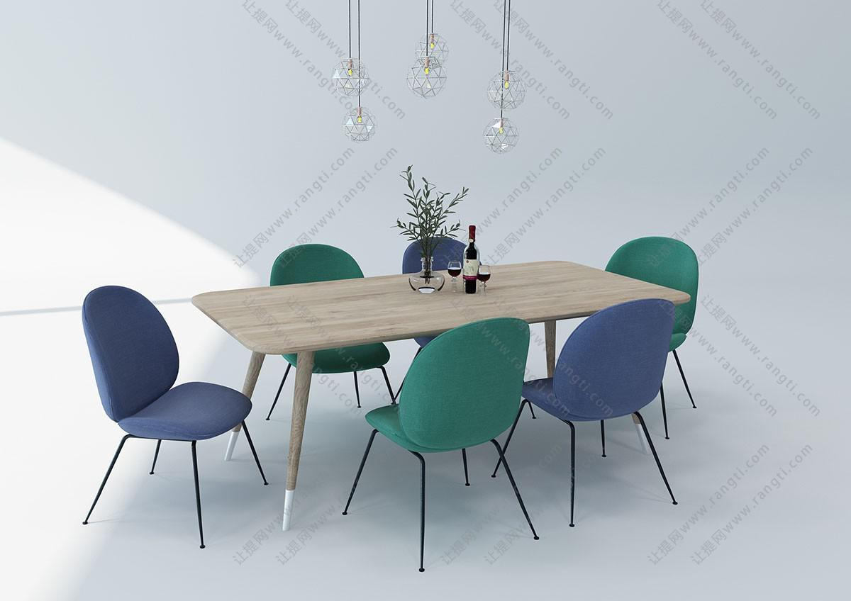 北欧实木布艺餐桌椅、吊灯组合3D模型