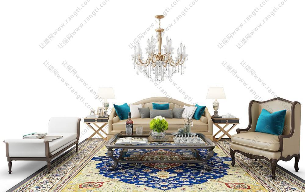 北欧简约沙发、茶几和装饰画组合3D模型