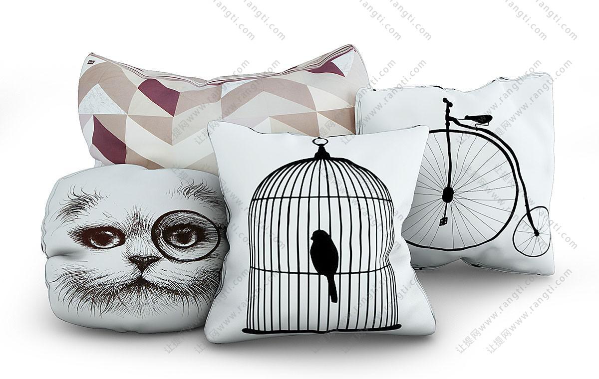 鸟笼、猫脸、自行车图案抱枕3D模型