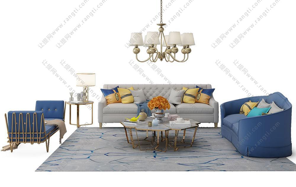 现代欧式沙发、茶几、休闲椅和吊灯组合3D模型