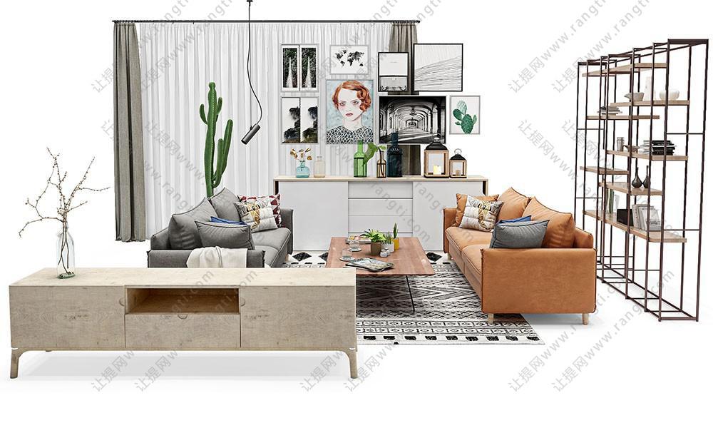 北欧现代沙发、茶几、电视柜和装饰画组合3D模型