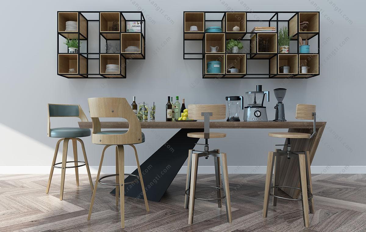 北欧实木餐桌椅、吧台椅、书架组合3D模型