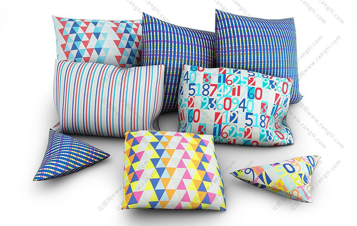 条纹、数字、几何图案抱枕3D模型