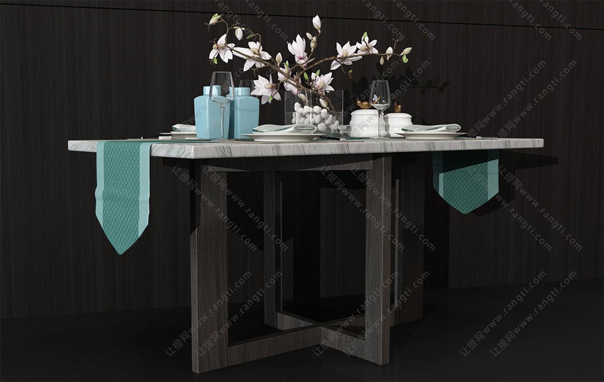 新中式大理石方形餐桌、餐具组合3D模型