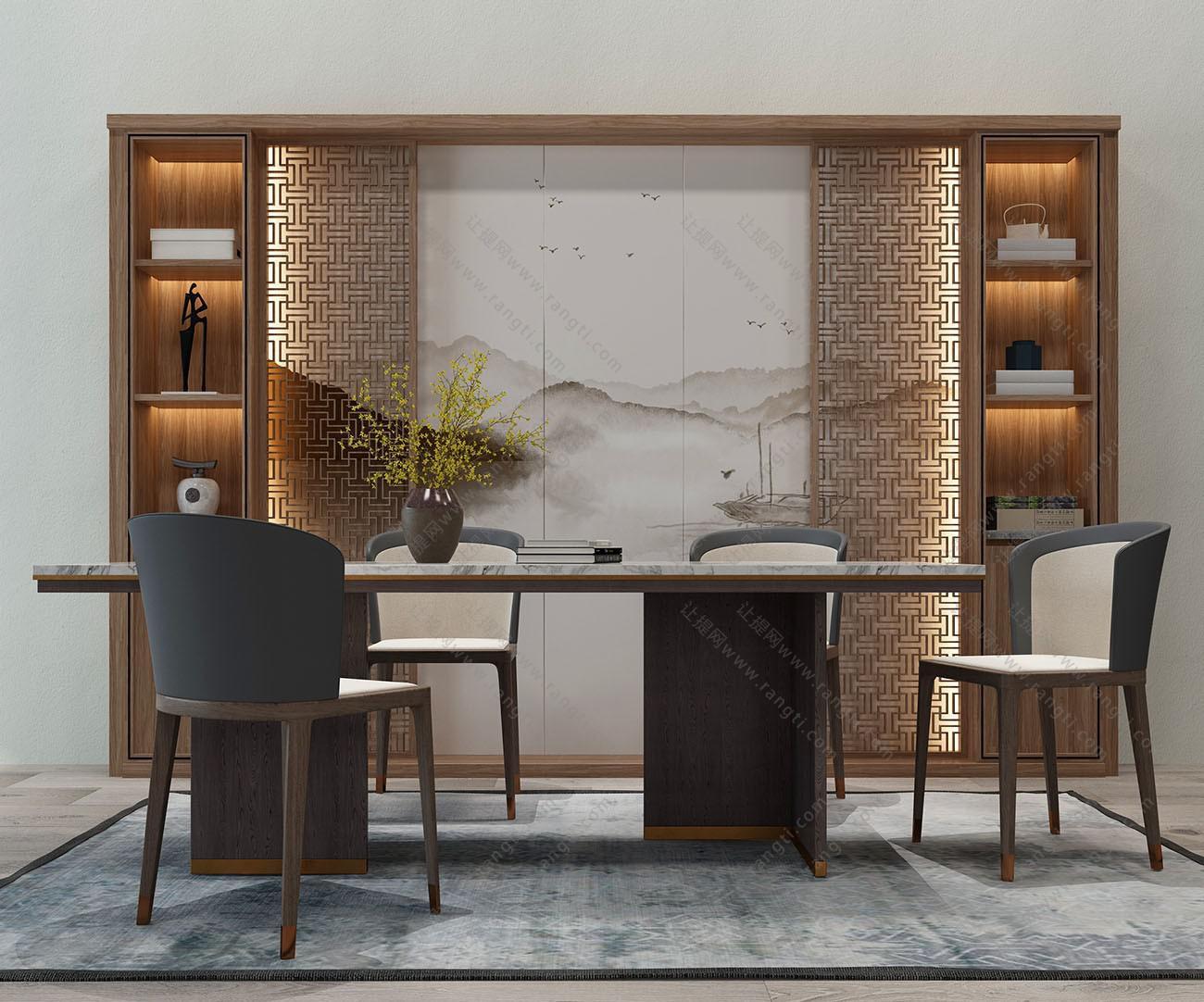 新中式实木餐桌椅、装饰柜组合3D模型