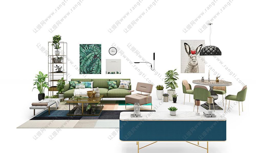北欧简约沙发、茶几、电视柜和装饰画组合3D模型