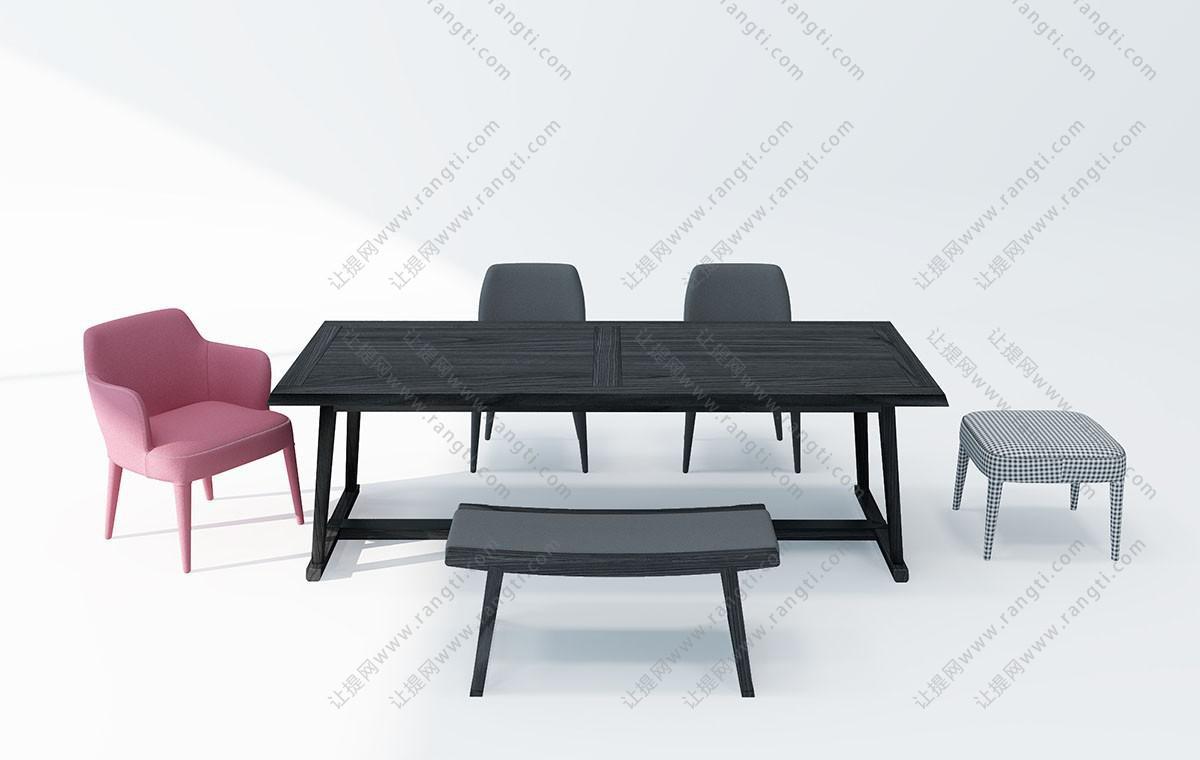 现代实木布艺餐桌椅、凳子组合3D模型