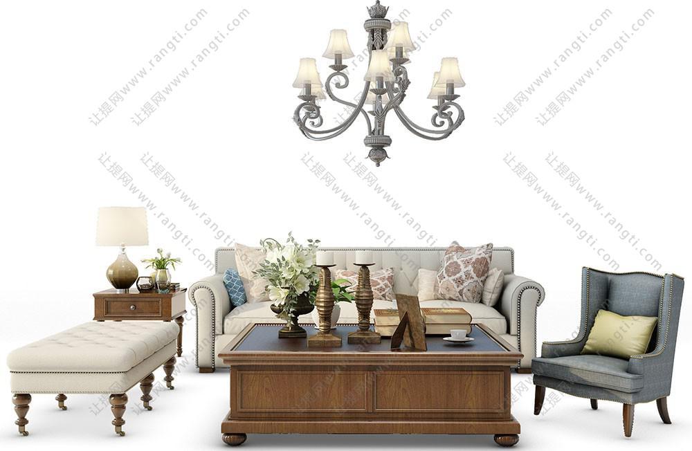欧式沙发、茶几、休闲椅和吊灯组合3D模型