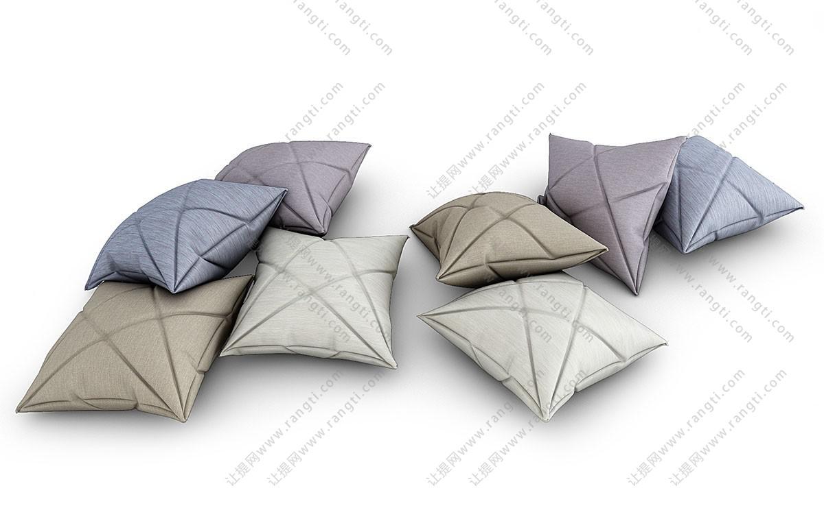 三角形、多边形凹痕抱枕3D模型