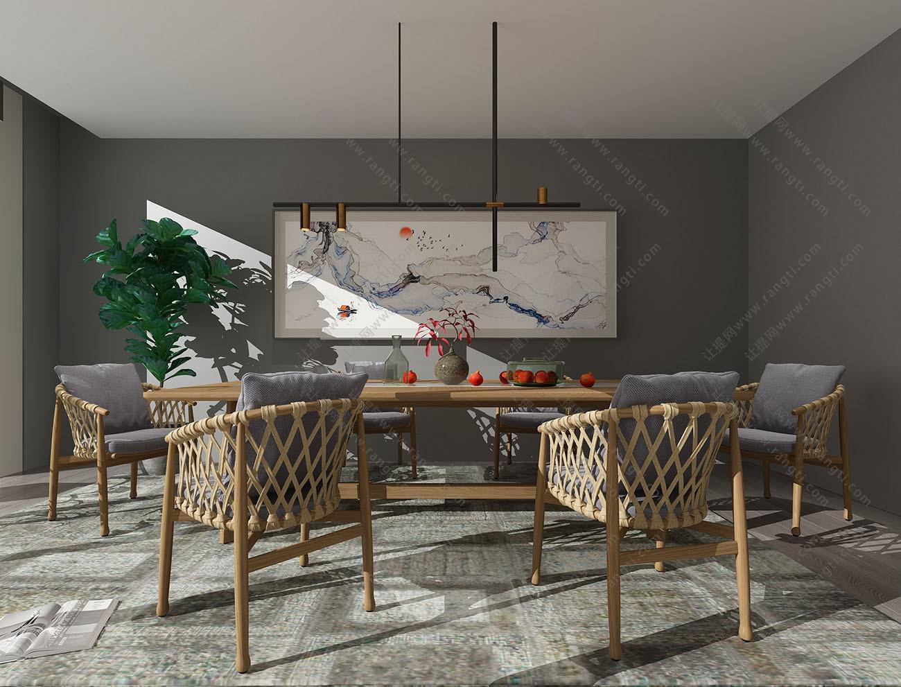 新中式长方形实木餐桌椅、藤编休闲椅组合3D模型