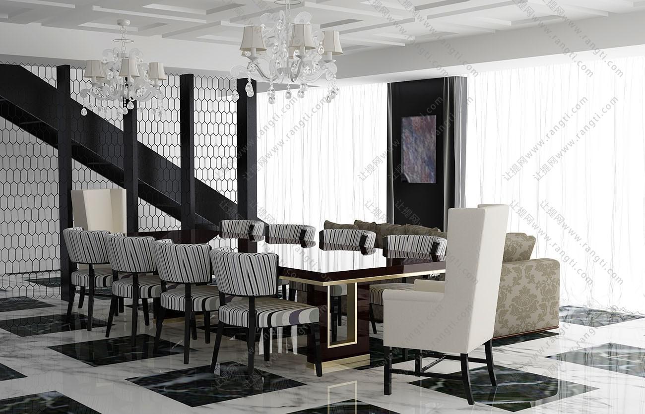 简欧长方形餐桌椅、高背椅组合3D模型