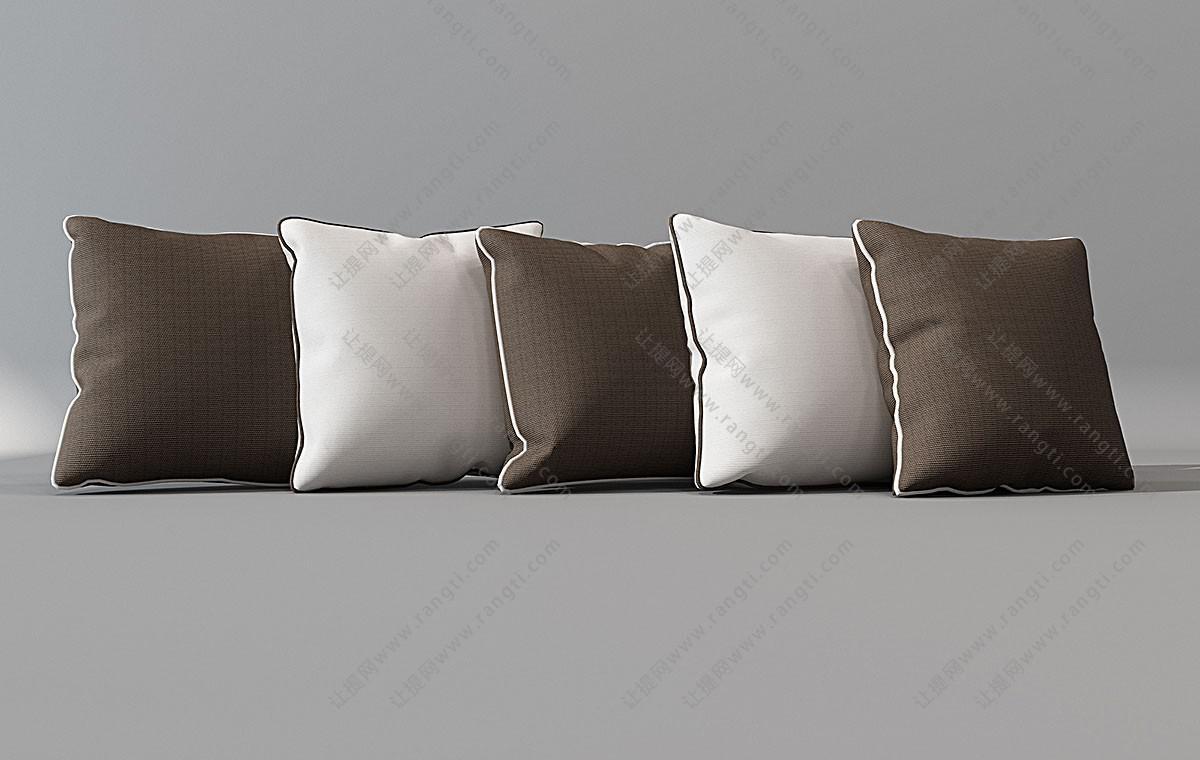 新中式素色带边线抱枕3D模型