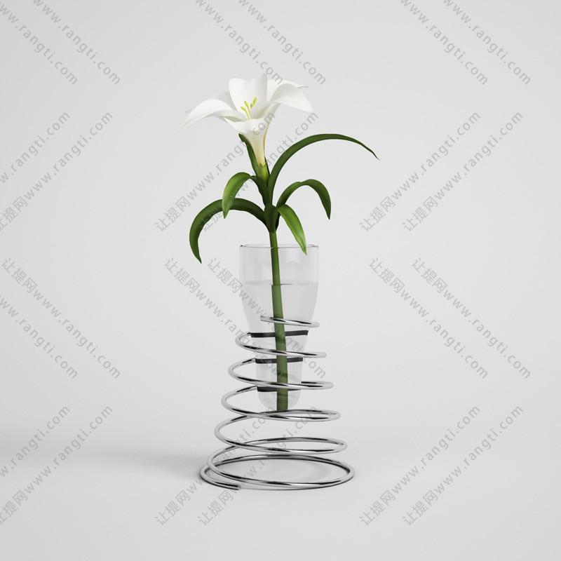 金属弹簧支架花瓶、百合花3D模型