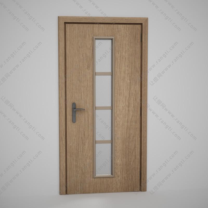 卫生间单竖玻璃方格实木门3D模型