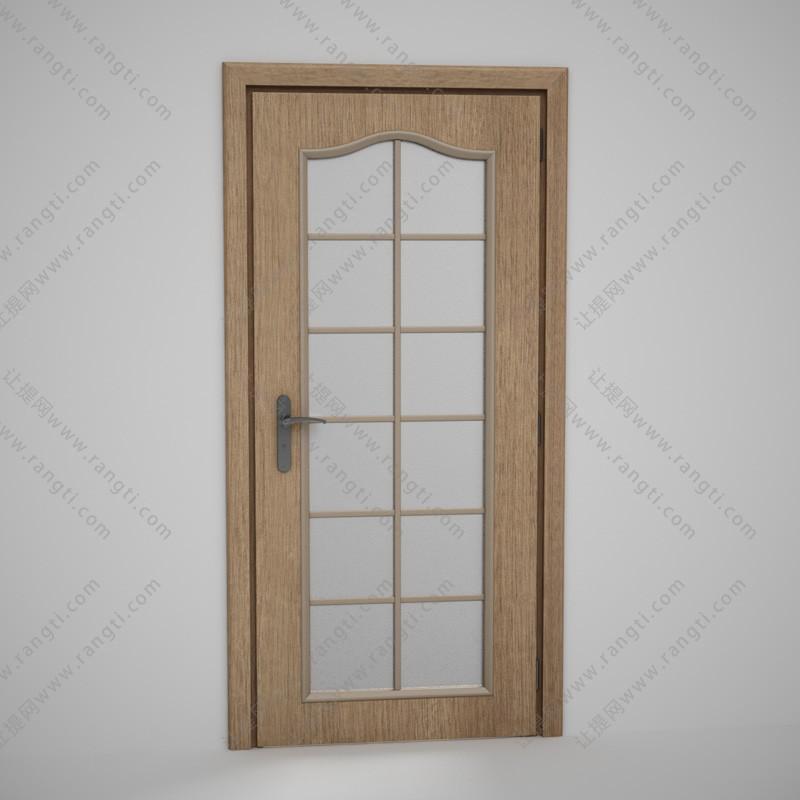 厨房方格玻璃实木门3D模型