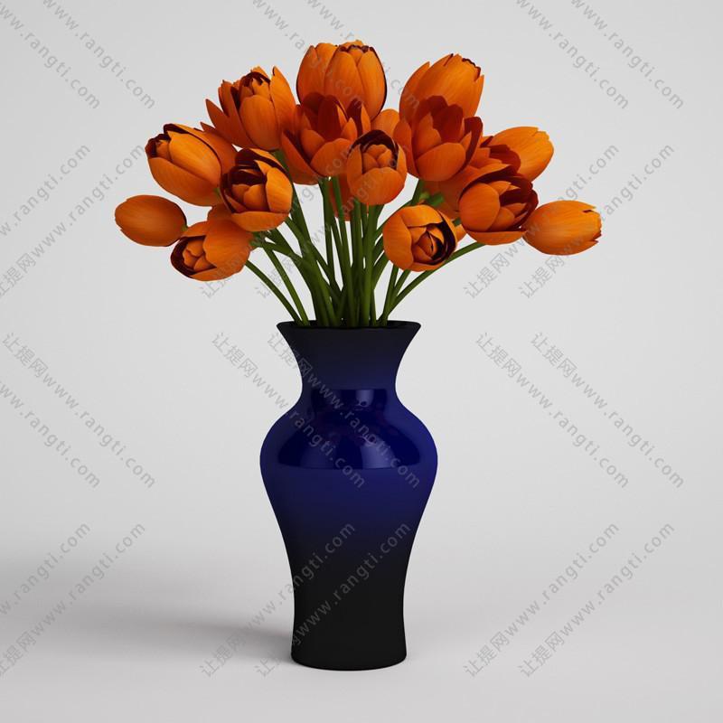 郁金香花卉花瓶、花艺3D模型