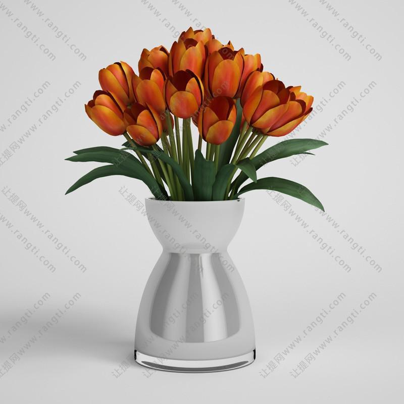 橙红色郁金香花瓶花卉3D模型