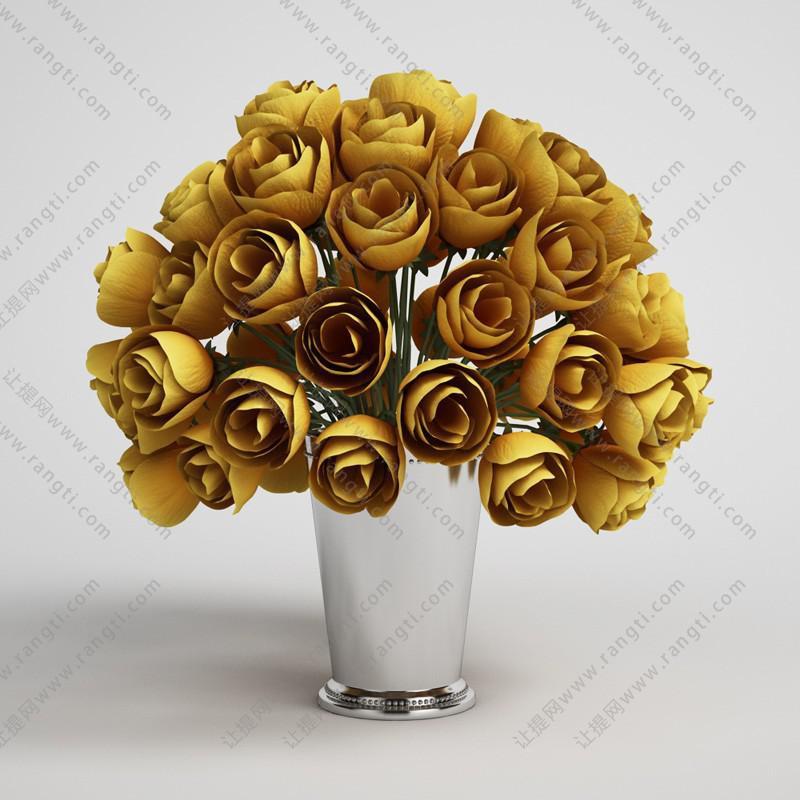黄色玫瑰花卉花艺3D模型