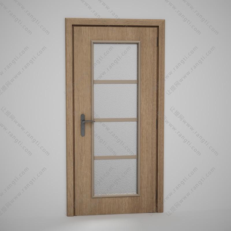 卫生间门、中间夹层方格玻璃实木门3D模型