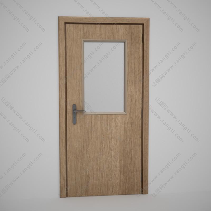 卫生间中长玻璃实木门3D模型