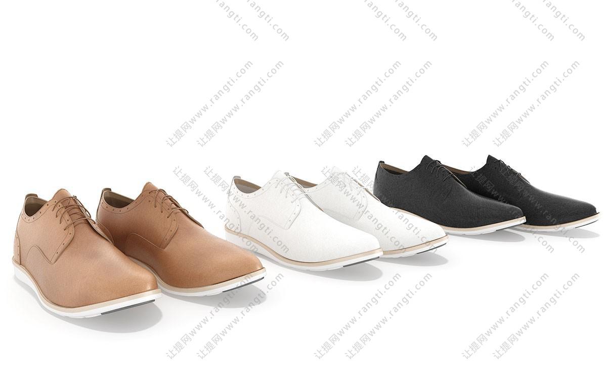 现代男士皮鞋、休闲鞋3D模型