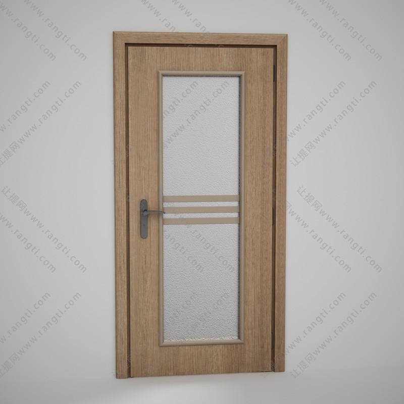 卫生间门、中间夹层玻璃实木门3D模型