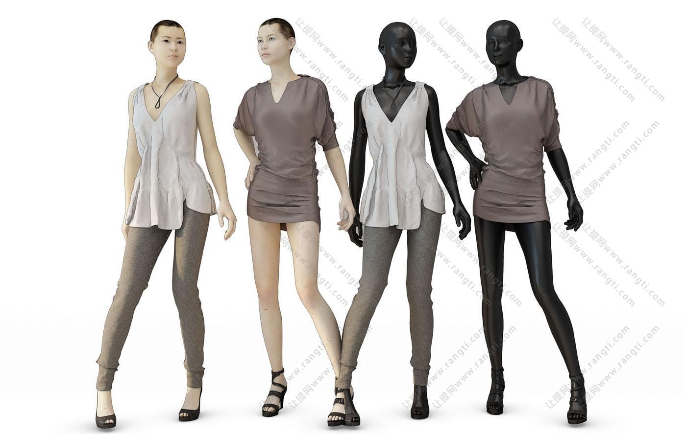 女士休闲服、人物模特3D模型