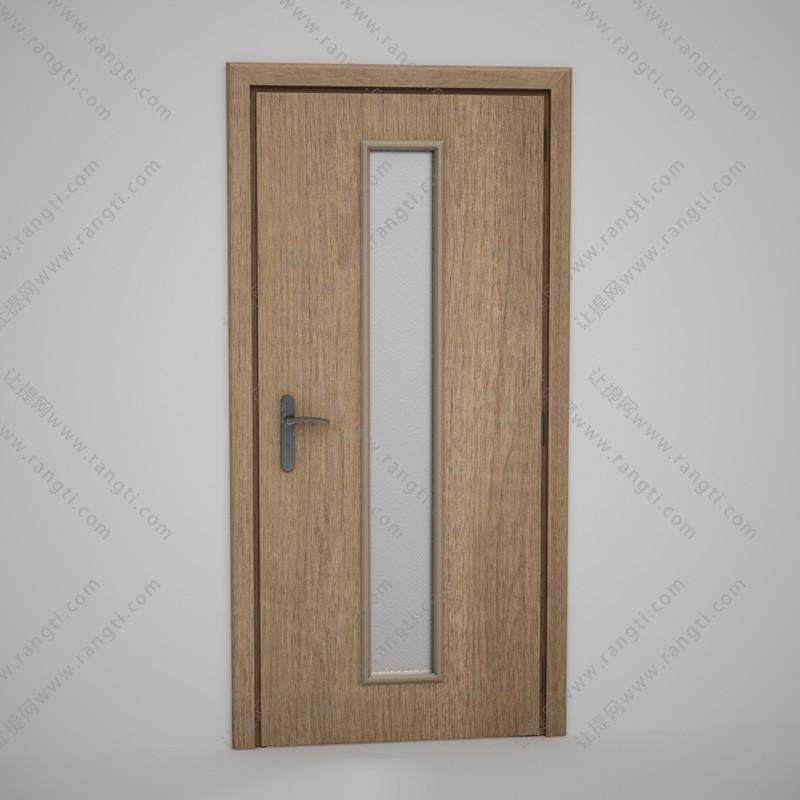 卫生间中间夹层竖条玻璃实木门3D模型