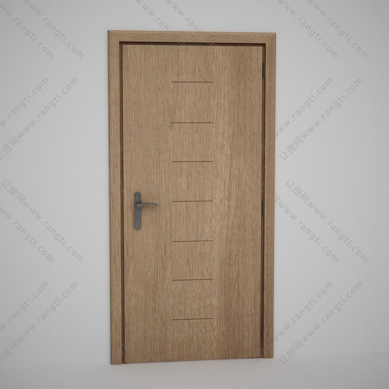 带短横凹纹平板实木门3D模型