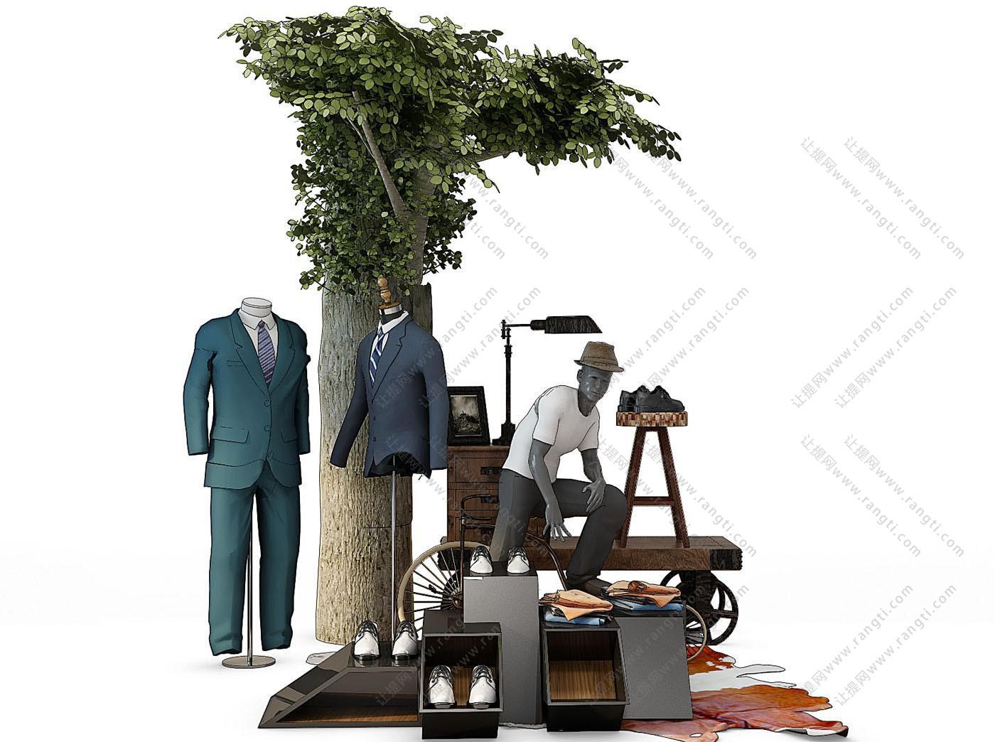 男士西服、皮鞋、人物模特、衣服树3D模型