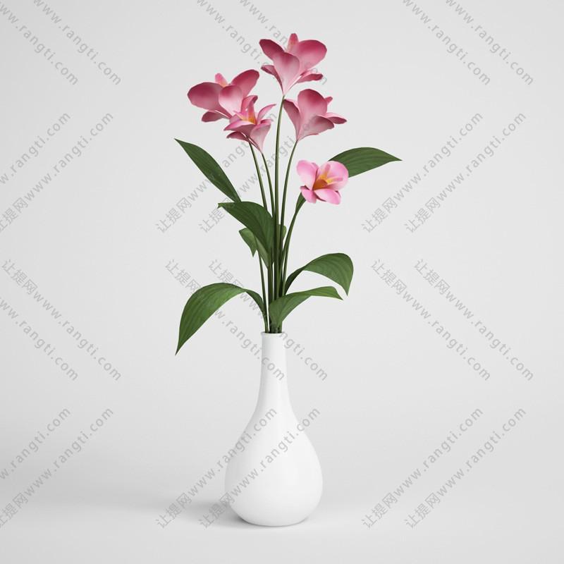 白色瓷瓶花瓶花卉3D模型