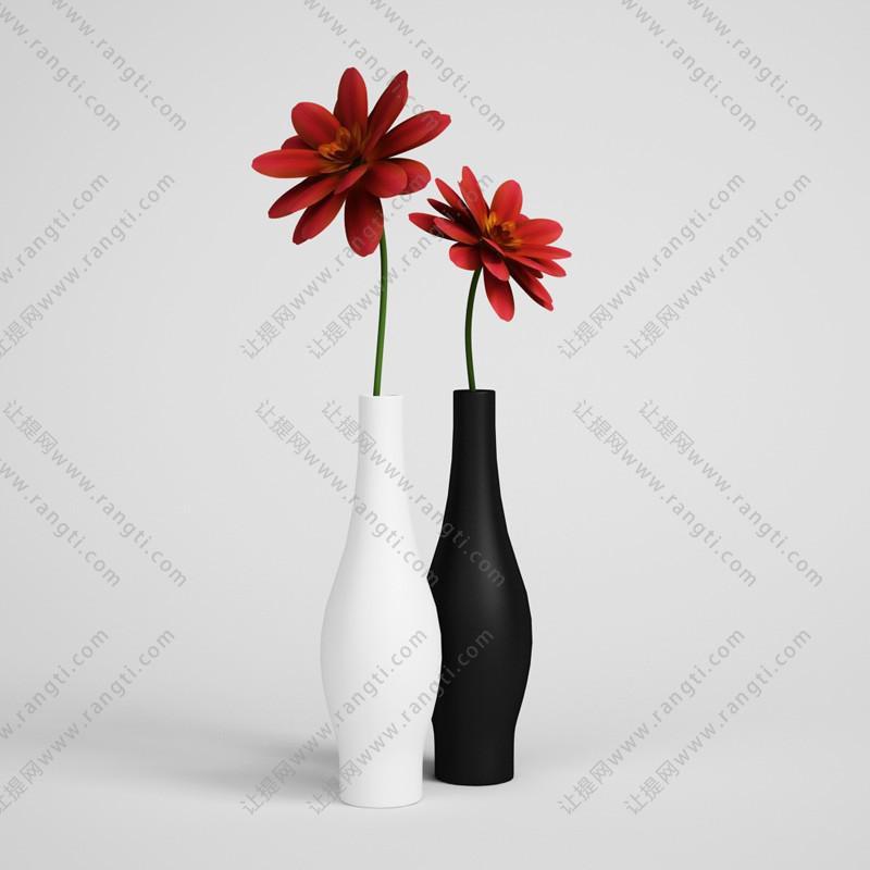 红色花卉、黑白花瓶3D模型