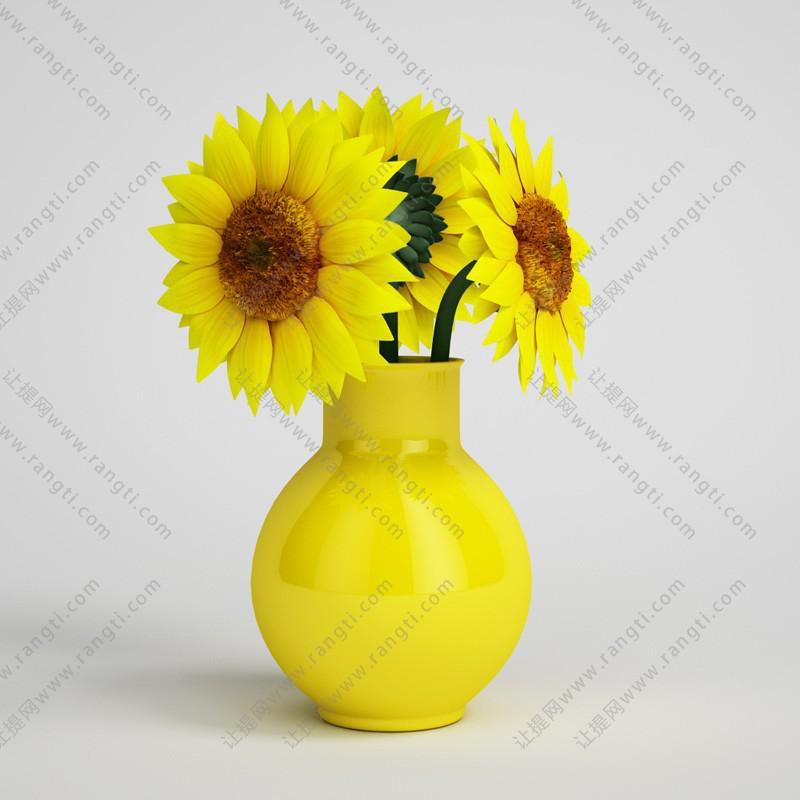 葵花花瓶花卉、花艺3D模型