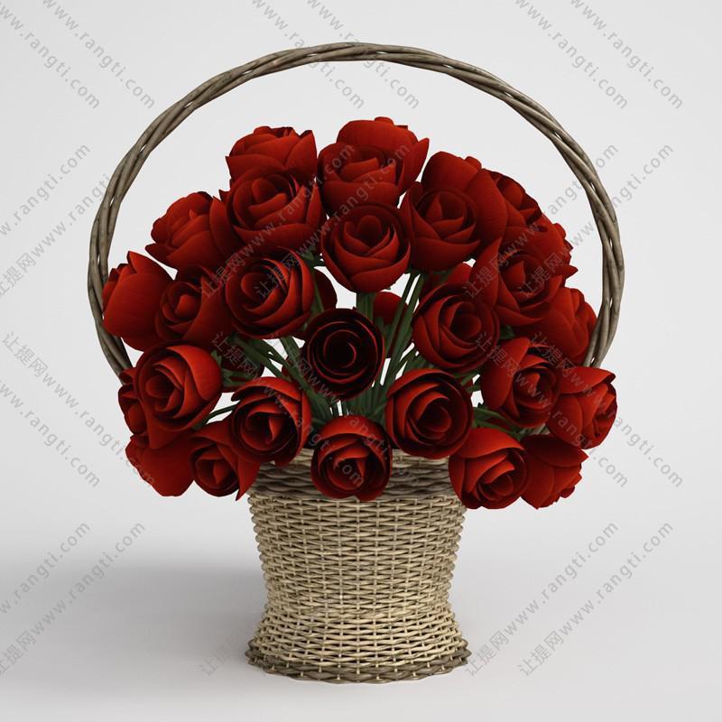 编织提篮玫瑰花、花卉花艺3D模型