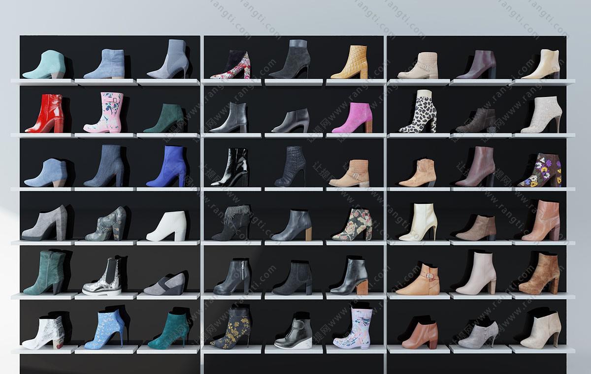 现代女士短靴、女鞋专卖店鞋柜展示架3D模型