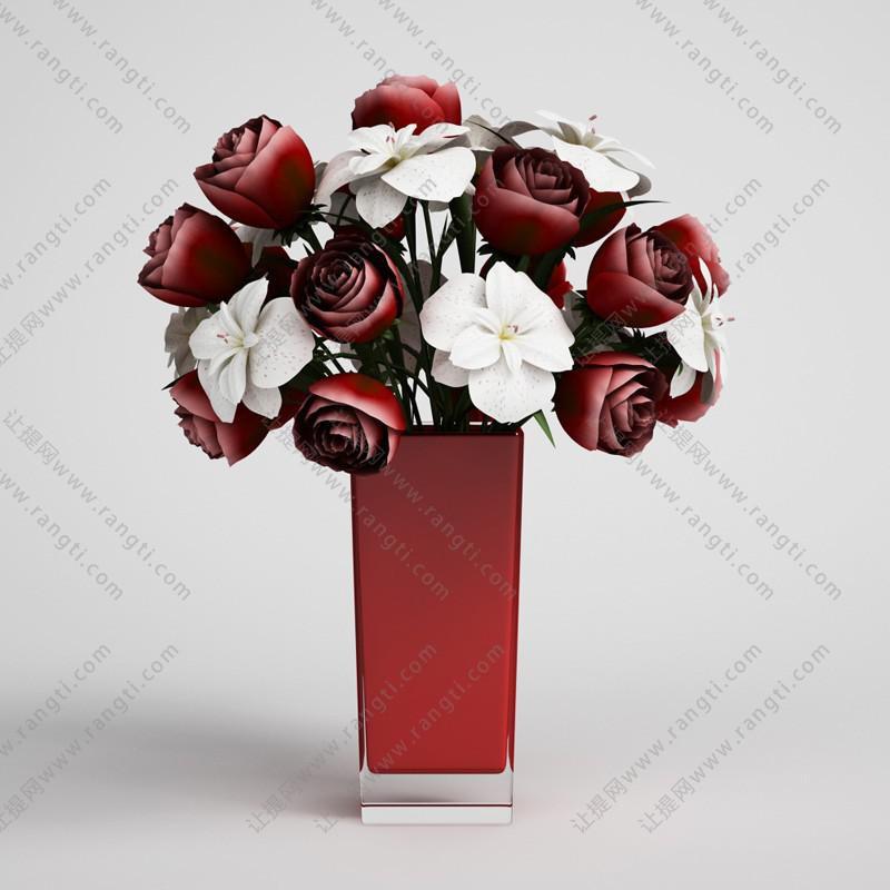 月季、海棠花瓶花卉 花艺3D模型